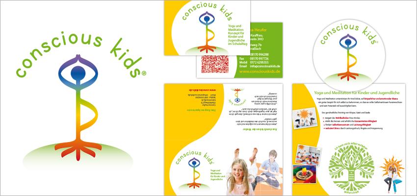 Grafik Design Gesundheit Conscious Kids, Straßlach, Logo, Visitenkarten, Flyer, Website