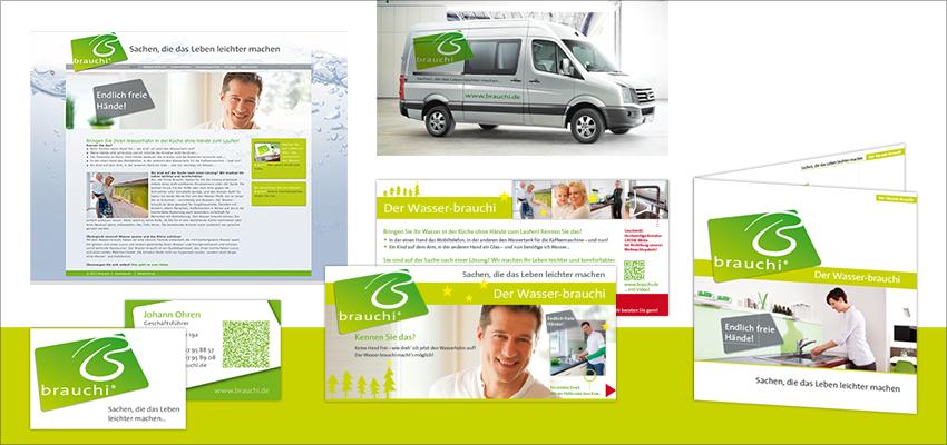 Corporate Design Fa. Brauchi, Zolling, Logo, Visitenkarte, Broschüre, Website, KFZ-Beschriftung