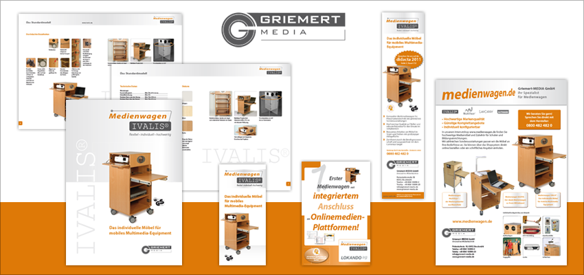 Corporate Design Griemert Media, Logo, Broschüre, Anzeigen