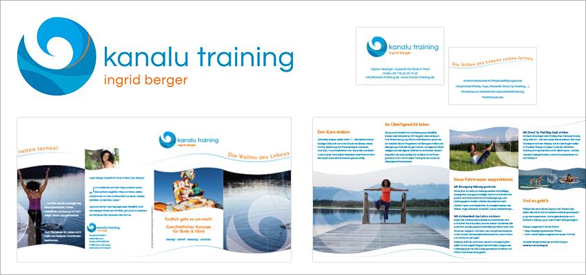 Grafik Design Gesundheit Kanalu Training München, Logo, Visitenkarten, Flyer, Website