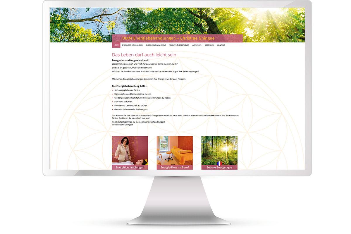Website erstellen, Christine Gningue, Energiebehandlungen, Unterschleißheim
