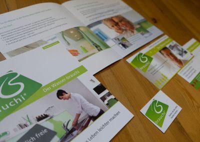 Grafik Design Dienstleistungen, Fa. Brauchi, Zolling – Logo, Visitenkarte, Broschüre, Website