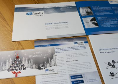 Grafik Design Dienstleistungen, Profundis Labs, IT-Sicherheit, München – Broschüre, div. Printmedien