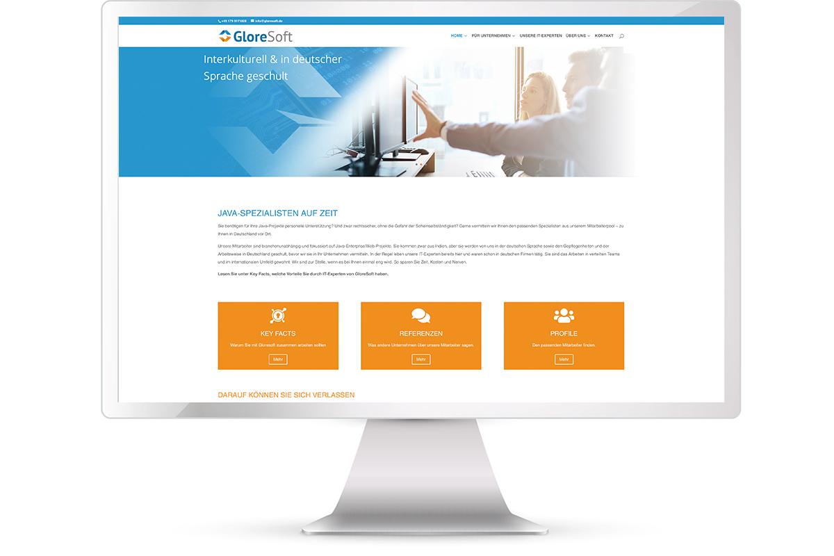 Website erstellen: Gloresoft, Recruiting indische IT-Fachkräfte, München; Website: https://www.gloresoft.de