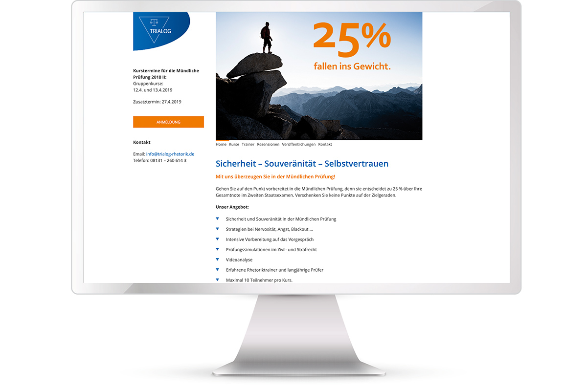 Website erstellen: Trialog Rhetorik, Training für angehende Juristen; Website: http://www.trialog-rhetorik.de