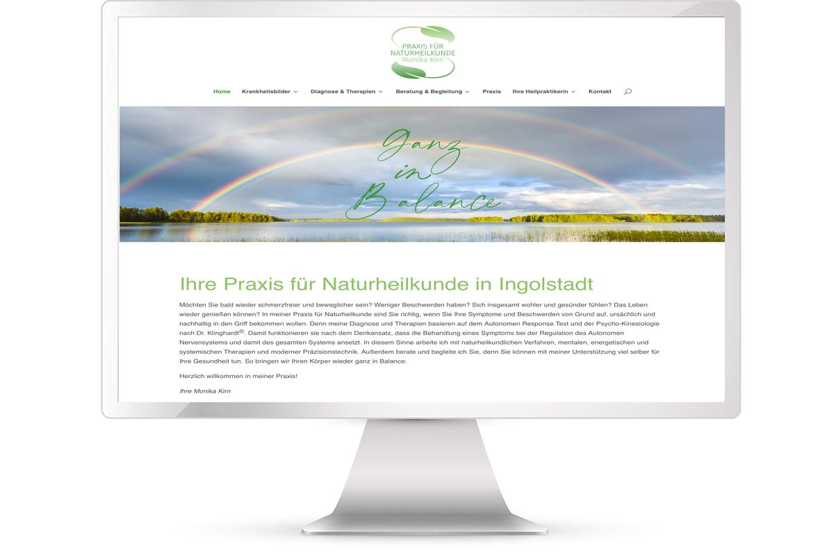 Website erstellen: Naturheilpraxis Heilpraktikerin Monika Kirn, Ingolstadt; Website: https://naturheilkunde-kirn.de