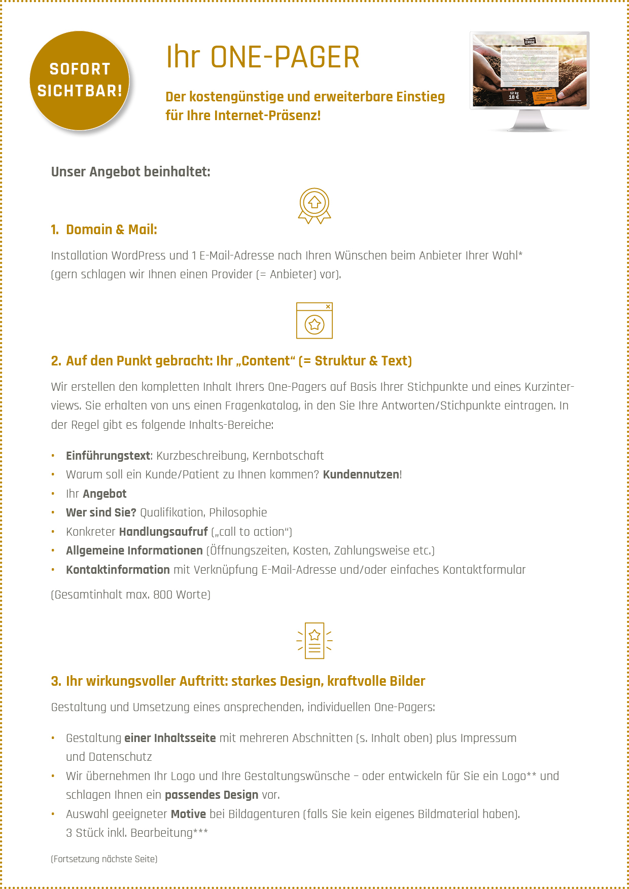 Angebot Onepager